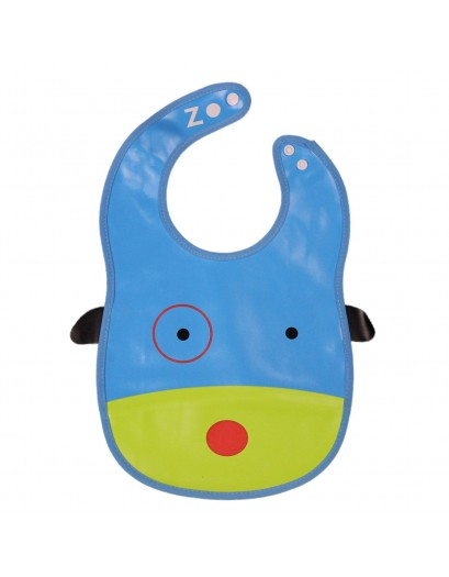 Animal Bib With Pocket-Blue/Green -Dog