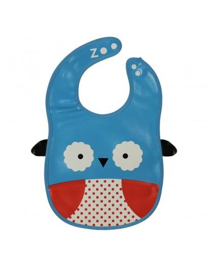 Animal Bib With Pocket-Blue/White Owl