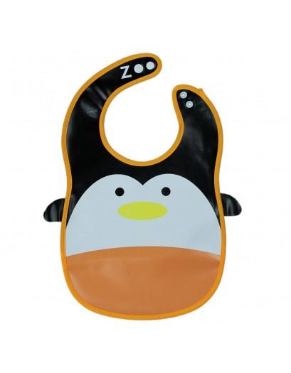 Animal Bib With Pocket- Orange/White Penguin