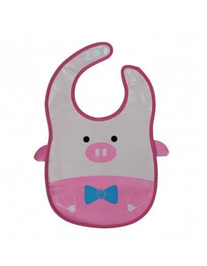 Animal Bib With Pocket-Pink Pig