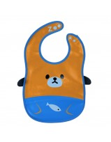 Animal Bib With Pocket- Orange/Blue Bear