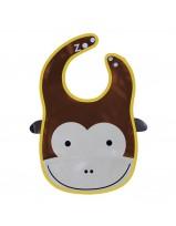 Animal Bib With Pocket-Brown - Monkey