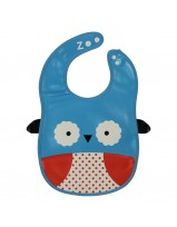 Animal Bib With Pocket-Blue/White Owl