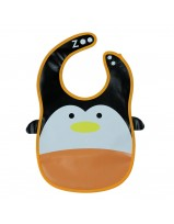 Animal Bib With Pocket- Orange/White Penguin