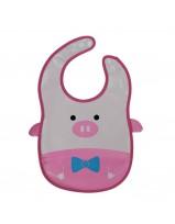 Animal Bib With Pocket-Pink Pig